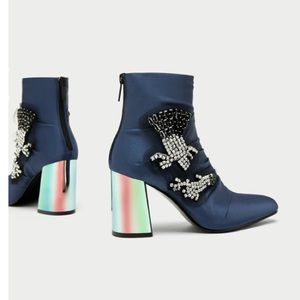 Zara Bejeweled Satin Ankle Boots